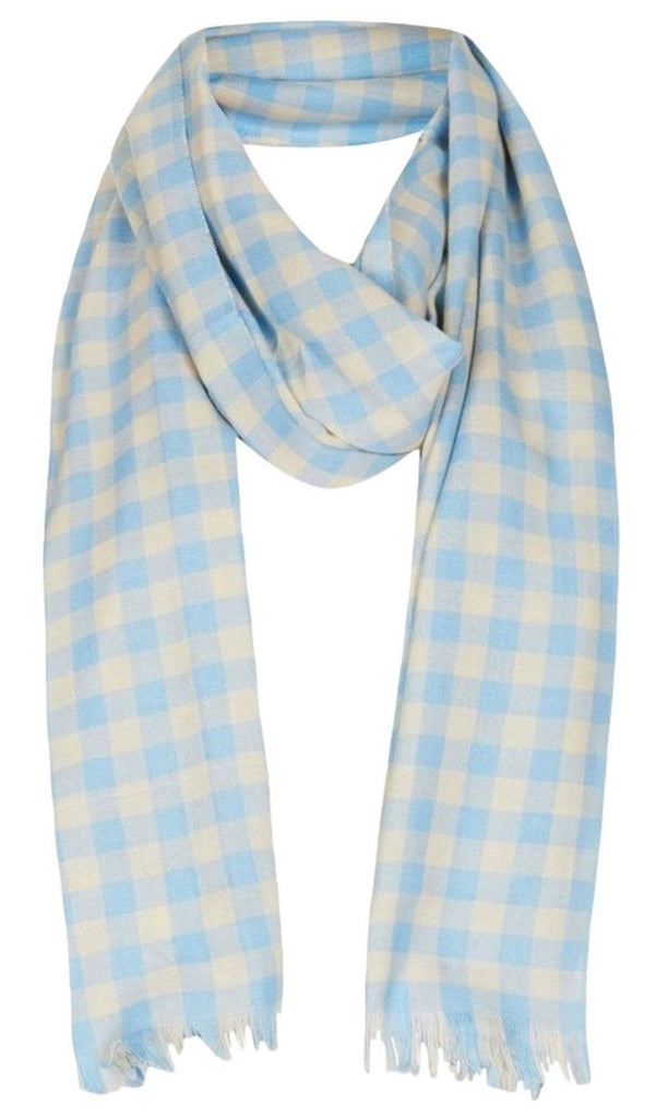 ex Topshop Blue Check Fringed Scarf