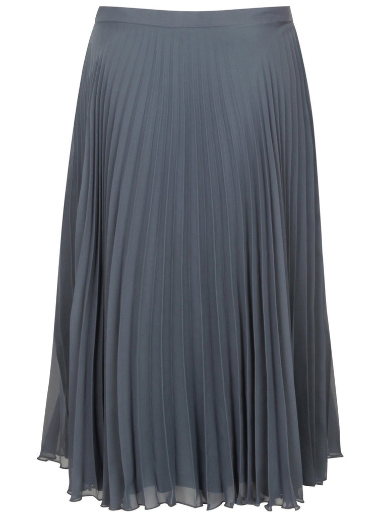 ex Topshop Chiffon Pleated Midi Skirt Grey Rust Blue