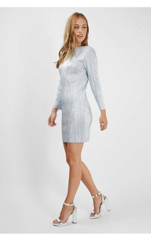 ex Topshop Metallic Blue Plisse Sparkly Bodycon Dress