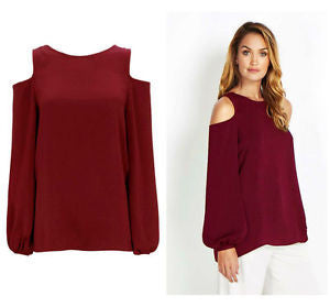 ex Wallis Cold Shoulder wine Top With Button Detail