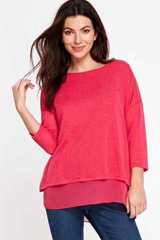 ex Wallis fine knit layered pink  top