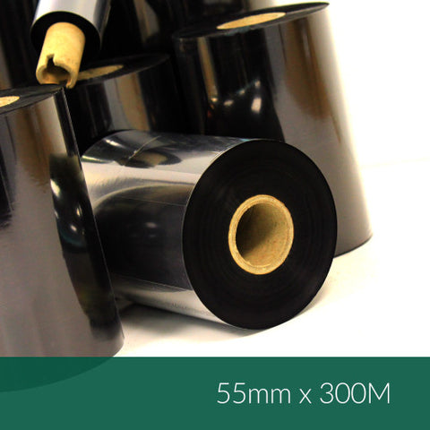 55mm x 300M Wax Resin Ribbon (B128-EXO05530)