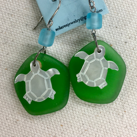 Solares Sea Glass Earrings- White Turtles Over Green Abstract