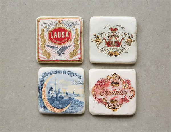 Vintage Cigar Box Label Coasters in Wooden Box