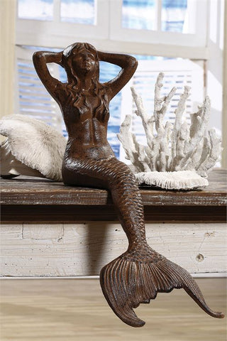 Mermaid Shelf Sitter In Cast Iron with Rust Finish