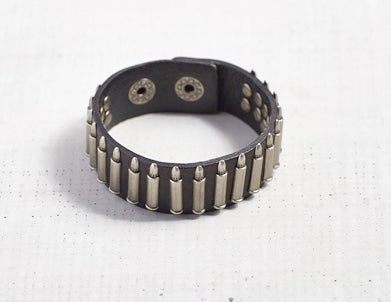 Antique Hardware & Leather Bullet Bracelet