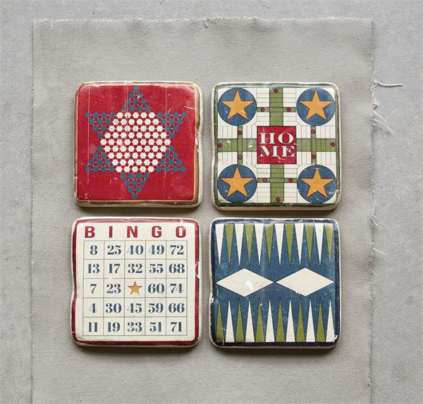 Vintage Board Games Coasters in Wooden Box