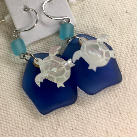 Solares Sea Glass Earrings- White Turtles Over Cobalt Blue Abstract