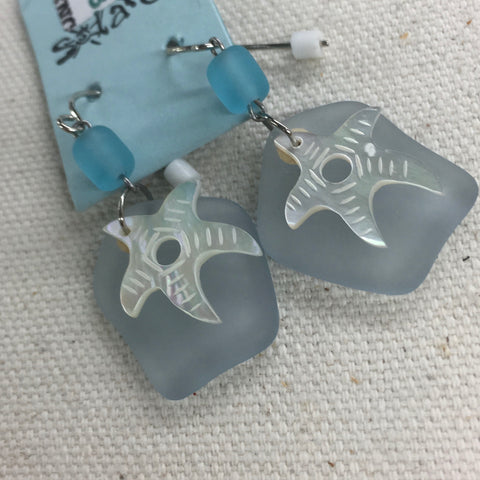 Solares Sea Glass Earrings- Pale Blue Shimmer Starfish