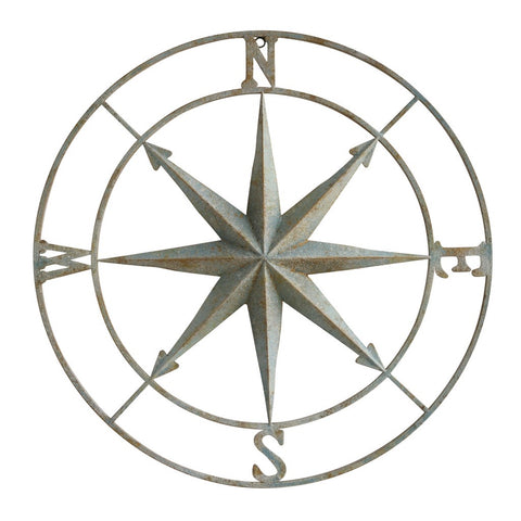 Distressed Aqua Compass Rose
