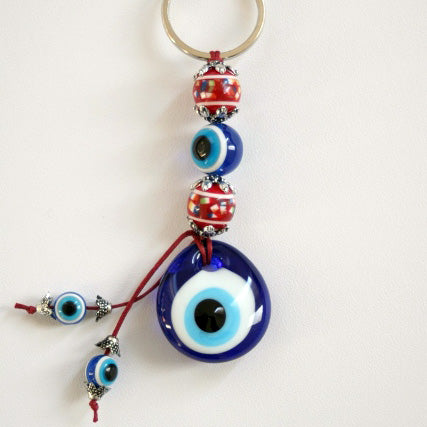 Red bead evil eye keyring