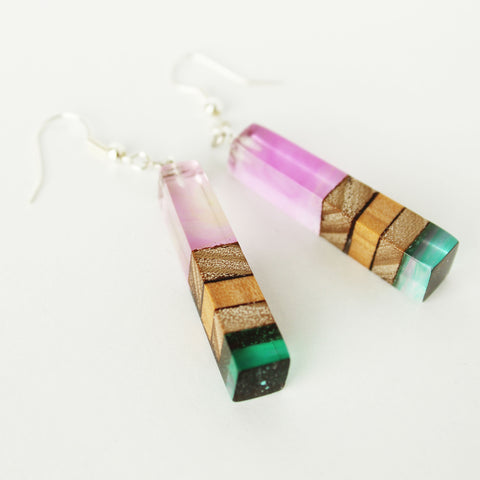 Layered Wood & Resin Earrings - Bohomio