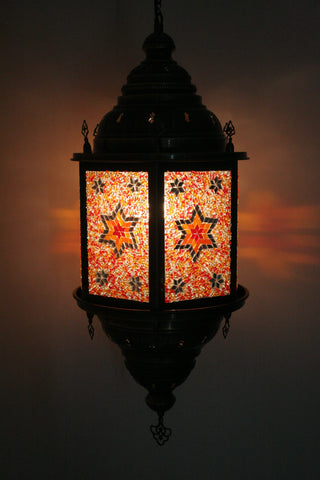 Orange Hexagonal Mosaic Lantern - Bohomio