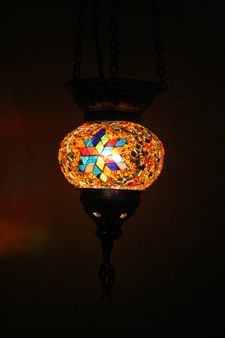 Orange Multi Mosaic Turkish Hanging Lantern - Bohomio