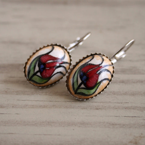 Tulip Motif Turkish Iznik Ceramic Earrings