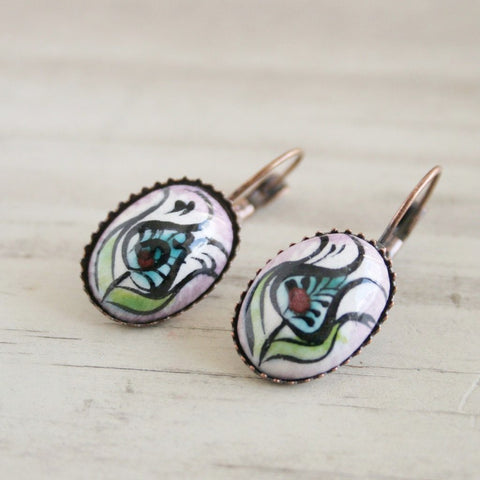 hand painted boho earrings