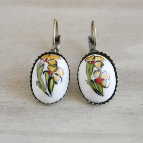 Yellow Flower Ceramic Earrings - Bohomio