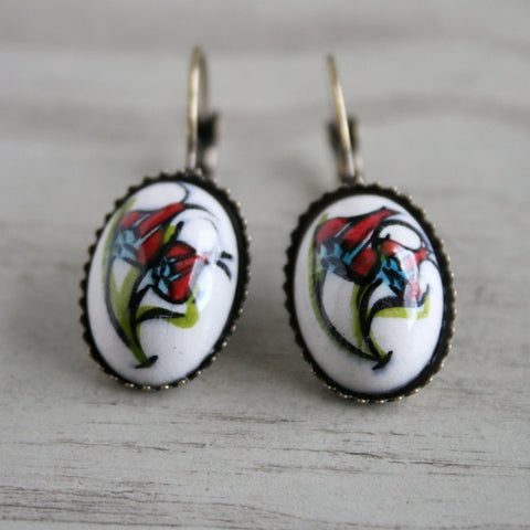Turkish Tulip Oval Earrings - Bohomio