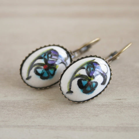 Hand Painted Floral Earrings - Bohomio