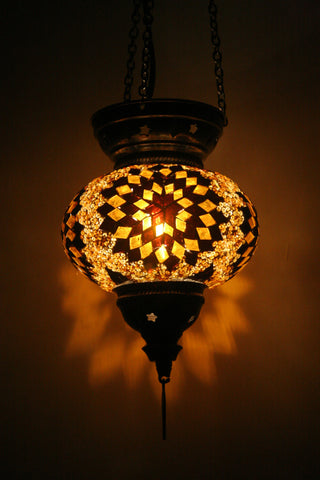 Brown Glass Mosaic Turkish Lamp - Bohomio