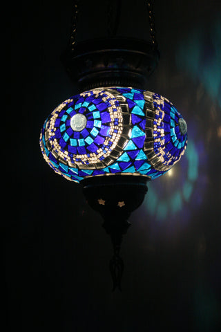 Blue Eye Turkish Mosaic Glass Lamp - Bohomio
