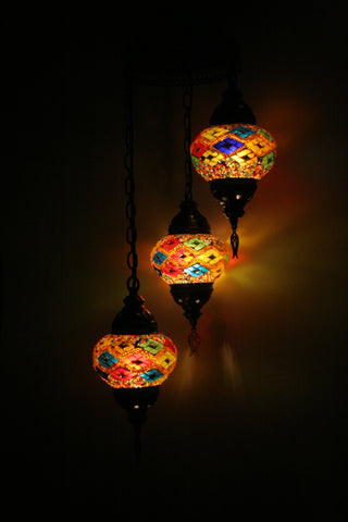 Multicolour Three Piece Chandelier - Bohomio