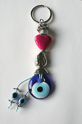 Turkish Evil Eye Nazar Pink Heart Keyring - Bohomio