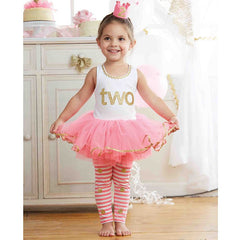 Mud Pie - I'm 2 Gold/Pink Tunic and Leggings Set