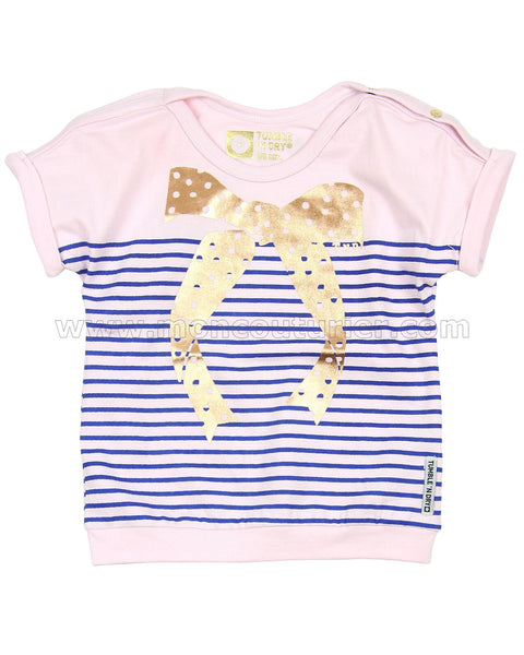 Tumble 'N Dry - Metallic Striped Graphic Baby Tee 2pc Set**