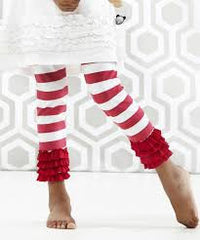 Servane Barrau - Red and White Striped Leggings**