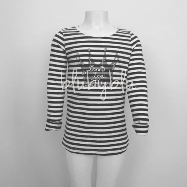 Blu - Black and White Striped Top
