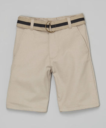 Silver - Khaki Belted Shorts**