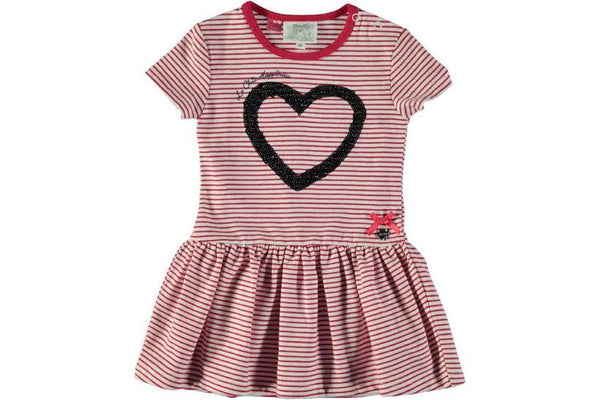 Le Chic - Striped Dress w/ Sequin Heart**