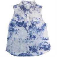 Blu  - Sleeveless Tie Dye Shirt*
