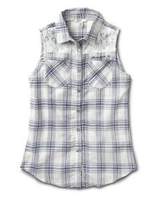 Silver - Lace Plaid Sleeveless Top**