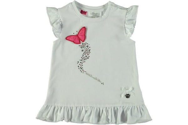 Le Chic -  White Tee w/ Red Butterfly