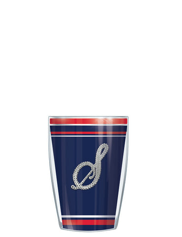 Bling Letter On Navy Stripe Tumbler