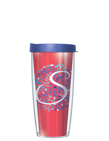 Bontanical Single Letter on Coral Tumbler - Signature Tumblers - Tumbler - 2