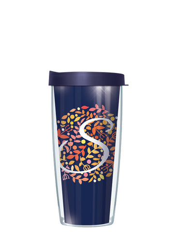 Bontanical Single Letter on Navy Tumbler - Signature Tumblers - Tumbler - 2