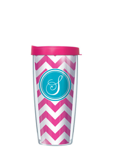 Single Letter Chevron Pink - Signature Tumblers - Tumbler -  - 2