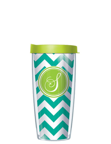Single Letter Chevron Teal - Signature Tumblers - Tumbler -  - 2