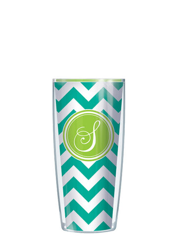 Single Letter Chevron Teal - Signature Tumblers - Tumbler -  - 1