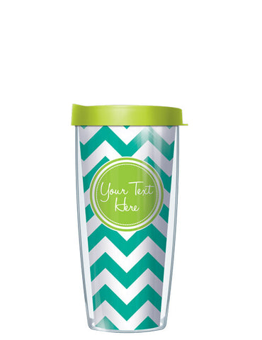 Personalized Text With Font Option Pop Chevron Teal - Signature Tumblers - Tumbler -  - 2