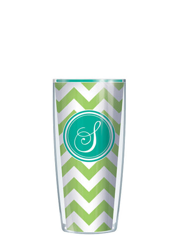 Single Letter Chevron Lime - Signature Tumblers - Tumbler -  - 1