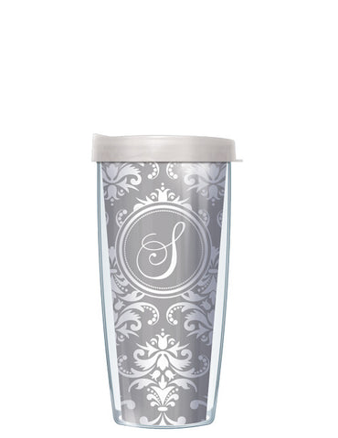 Single Letter Damask Gray - Signature Tumblers - Tumbler -  - 2