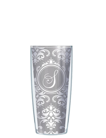 Single Letter Damask Gray - Signature Tumblers - Tumbler -  - 1