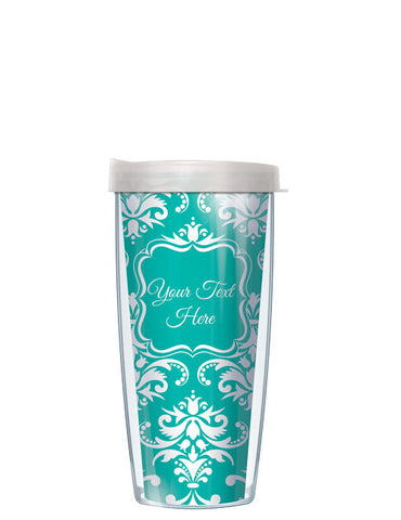 Personalized Text With Font Option Damask Teal - Signature Tumblers - Tumbler -  - 2