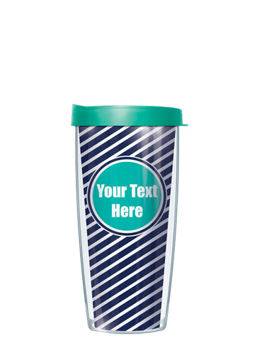 Personalized Text With Font Option Diagonal Teal - Signature Tumblers - Tumbler -  - 2