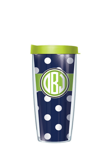 Monogram Dots Navy With Band - Signature Tumblers - Tumbler -  - 2