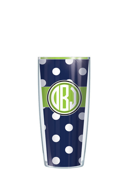 Monogram Dots Navy With Band - Signature Tumblers - Tumbler -  - 8
